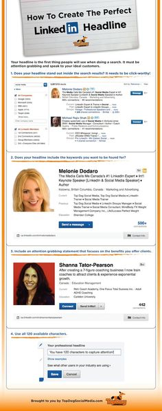 LinkedIn Marketing -- Great tips on creating a compelling headline by Dodaro (Top Dog Social Media) - Thanks Melanie for including me into your Search ; Inbound Marketing, Digital Marketing Strategy, Business Marketing, Internet Marketing, Social Media Marketing, Content Marketing, Business Entrepreneur, Business Infographics, Social Networks