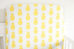 Little Woolf Fitted Crib Sheet in Golden Pineapple, Yellow, Fruit, Farmers Market, Gender Neutral Bedding, Baby Girl, Baby Boy, Beach, Ocean