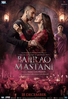 Directed by Sanjay Leela Bhansali. With Priyanka Chopra, Deepika Padukone, Irrfan Khan, Ranveer Singh. The tale of romance between an Indian general Baji Rao I and Mastani, a Muslim princess. Bollywood Stars, Bollywood Poster, Indian Movies Bollywood, Bollywood Box, Bollywood Cinema, Bollywood Updates, Bollywood News, 2015 Movies, Good Movies