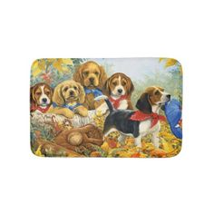 charming sweet dogs bathroom mat