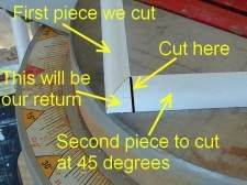 Cutting quarter round returns is simple once you understand where to cut. The return hides the cut end of the quarter round. Floor Molding, Corner Moulding, Base Moulding, Moldings And Trim, Shoe Molding, Crown Molding, Baseboard Trim, Baseboards, Vinyl Flooring Bathroom