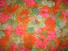 Vintage chiffon from Tootal pink orange green