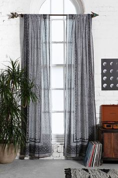 Magical Thinking Scallop Scale Curtain $29-$39 Urban Outfitters Charcoal, Rust, Cream, or Navy  (♡)