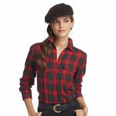 Chaps Plaid Camp Shirt - Red - Kohl's - Original Price 60 Dollars - Clearance Price 9.60 - Very comfortable shirt.  Looks great as is or under a pullover sweater.