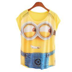 New Fashion Women T Shirts Short Sleeve Print Minion and Spongebob T-Shirts Female Cartoon loose Tops Cross Tee Lady T-Shirts #Discount #Sleeveless