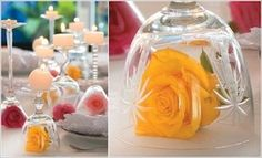 DIY Glass Centerpieces for Table Decoration - Typical Miracle Wine Glass Centerpieces, Centerpiece Decorations, Decoration Table, Flower Centerpieces, Wedding Table Centerpieces, Wedding Tables, Wedding Ceremony, Wedding Decorations, Deco Floral