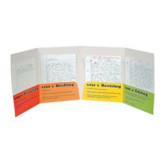 """Writing Process Folders. Each of the four pockets in these folders explains a step in the writing process. Your son or daughter will be excited to get creative and use these Writing Process Folders at school. With school supplies that get kids excited about writing, you'll be amazed at the work your students can do! Paper. 9 1/2"""" x 12"""" © OTC"""