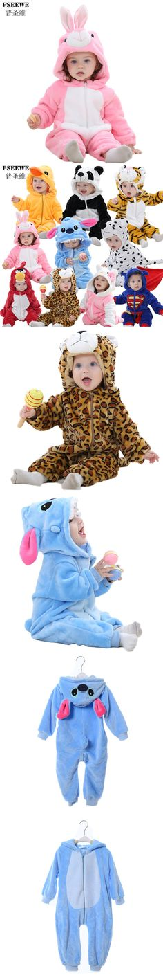 Winter Flannel Baby Boy Clothes Cartoon Animal Leopard / cat / panda / tiger / Stitch Jumpsuit Baby Girl Rompers Baby Clothing $23.56
