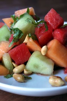 Thai Inspired Basil and Melon Salad with Peanuts