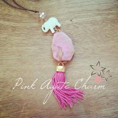 Pink agate gemstone Crystal Acrylic lucky elephant by Twininas Pink Agate, Agate Gemstone, Jewelry Collection, Diy Jewelry, Tassel Necklace, Tassels, Elephant, Gemstones, Crystals
