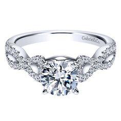 14k White Gold Diamond Criss Cross Engagement Ring