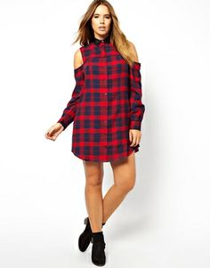 Image 4 ofASOS CURVE Exclusive Shirt Dress In Tartan Check With Cold Shoulder