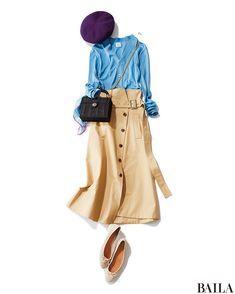 この春注目のボトムは、ウエストマークデザインのアイテム! ベルト付きのAラインスカートなら、シンプルトップスに合わせるだけで旬なバランスになります。爽やかなライトブルーのカーデとコーディネートすれば、ワンツーコーデでも凝ったムードに。週末はベレー帽やバレエシューズ、黒バッグでパリ・・・