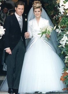 wedding anniversary of David Armstrong-Jones, Viscount Linley (son of Princess Margaret) and The Honorable Serena Alleyne Stanhope; married at the Church of St. Margaret in Westminster, London, England on October 1993 Royal Wedding Gowns, Royal Weddings, Wedding Bride, Bridal Gowns, Princess Margaret Wedding, Royal Princess, David Armstrong Jones, Princesa Margaret, Kate Middleton Wedding