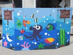 Look at this Fishing Booth design that was created for a school event! A creative volunteer could customize this for your school carnival. You can organize all of your volunteers by creating a free online sign up sheet with www.SignUpGenius.Com