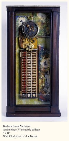 2B assemblage in wall clock cabinet, encaustic wood, glass, w/c paper, clock parts