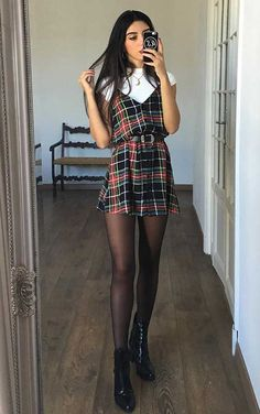 Plaid Dress Outfit Idea ★ Looking for some trendy and cute outfits for school? Stylish casual ideas for teens, comfy and super easy to wear college outfits for fall and cold weather are here! ★ Source by kaaaterina Dresses for school