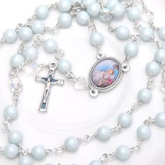 Beautiful handcrafted baby blue pearl Christening rosary personalised with a hand stamped name disc. Lavender Sachets, Unique Gifts, Handmade Gifts, Blue Pearl, New Baby Gifts, Christening, Hand Stamped, New Baby Products, Personalized Gifts