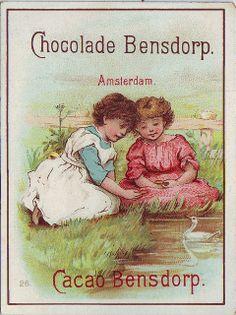 ♥ chocolade bensdorp - two girls feeding duck - 26,