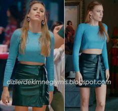 Medcezir - Mira (Serenay Sarıkaya), Blue Top and Black Skirt Fashion Tv, Fashion Looks, Fashion Outfits, Winter Skirt Outfit, Fall Winter Outfits, Turkish Fashion, Casual Tops For Women, Blue Tops, Stylish Outfits