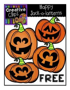FREE Jack-o-lantern clipart! This free, fun, and festive set has four happy jack-o-lanterns to add a little spook to your classroom resources! I love offering teachers affordable clipart sets and freebies, so I would really appreciate your feedback and comments :)
