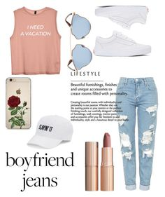"""""""Boyfriend Jeans"""" by mirah11 ❤ liked on Polyvore featuring Topshop, Vans, Charlotte Tilbury, Christian Dior and SO"""