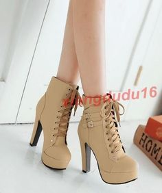 a9384b4f8559 Details about Womens Faux suede Platform Block high heel Lace Up Buckles  Pumps Ankle Boots new