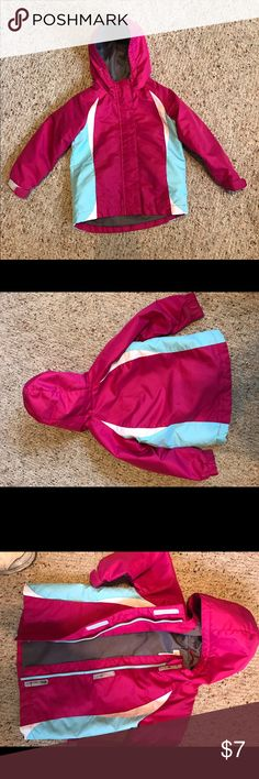 Toddler Parka jacket 3T pink aqua & white Great little jacket with light lining in 3T. Washable. Velcro fastest at wrists. Zip front with 3 Velcro patches so the zipper placket lays flat. Gently worn. Circo Jackets & Coats Puffers
