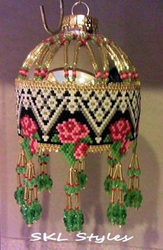 Roses and Lace  woven Delica bead Christmas Ornament by SKLstyles, $45.00