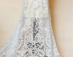Luxury Beaded Lace Fabric in Ivory Black for Haute Couture Wedding Gown Bridal Dress DIY, Fabric by Yard