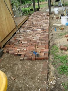 Repurposed-brick patio and walkway - Modern Brick Pathway, Brick Paving, Brick Garden, Stone Walkway, Garden Cottage, Diy Garden, Garden Paths, Backyard Patio, Backyard Landscaping