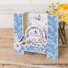 Craft this gorgeous U-fold birthday card for your loved ones this summer - we love the little blue tit! Handmade Card Making, Handmade Cards, Bridge Card, Spellbinders Cards, Blue Tit, Cardmaking And Papercraft, Hand Stamped Cards, Interactive Cards, Fun Fold Cards