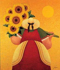 Lowell Herrero (American, born 1921) ~ Sunflower Harvest