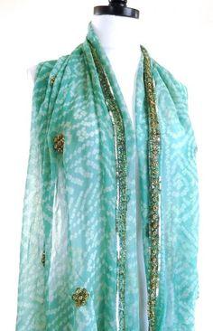 Aqua Silk Scarf, Tie Dye Scarf, Blue Bandana, Indian Silk, Vintage Sari Scarves, Indian Wedding Shawl, Hippie Veil, Bollywood