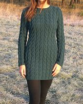 close-fitting cabled dress, lean cabled tunic