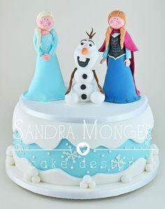 Frozen Themed Birthday Cake with Anna, Elsa & Olaf.