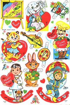 Vintage Valentines Cut-out Sheet : Vintage Valentine cards Sharing some fun! More pages coming. (Should be able to upload - let me know if not.