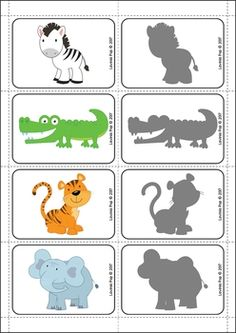 Zoo Centers for Preschool and Kindergarten. Shadow matching cards.