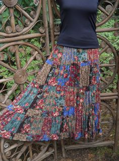 Colorful gypsy 5 tiered floral patchwork by LamplightGifts on Etsy, $28.50