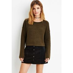 Love 21 Love 21 Women's  Contemporary Brushed Knit Cropped Sweater ($20) ❤ liked on Polyvore featuring tops, sweaters, lightweight sweaters, full length sweater, brown sweater, brown tops and cropped knit sweater