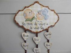 Placa vovó e vovô   Artesanatos Ingrid Carvalho   172391 - Elo7 Kids Crafts, Arte Country, Pintura Country, Country Paintings, Grandparents Day, Coloring Pages, Free Pattern, Stencils, Decorative Plates