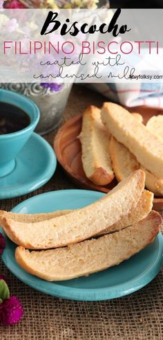 Biscocho is a Filipino version of biscotti. Twice-baked bread coated with butter and sugar. But this version uses condensed milk instead. Healthy Desserts, Easy Desserts, Delicious Desserts, Yummy Food, Filipino Desserts, Filipino Recipes, Filipino Food, Asian Recipes, Flip Recipe