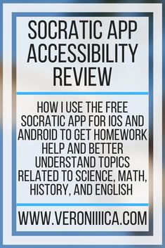How I use the free Socratic app for iOS and Android to get homework help and better understand topics related to Science, Math, History, and English College Essentials, College Hacks, Assistive Technology, Educational Technology, Teaching Resources, Teaching Ideas, Visual Impairment, App Support, College Survival