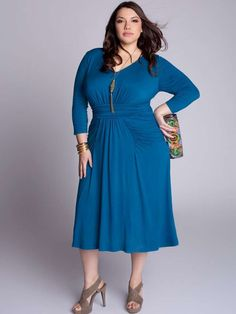 Plus Size Thelma Draped Dress in Deep Azure Evening Dresses Plus Size, Wedding Dresses Plus Size, Plus Size Dresses, Plus Size Outfits, Nice Dresses, Designer Plus Size Clothing, Plus Size Designers, Plus Size Occasion Dresses, Special Occasion Dresses