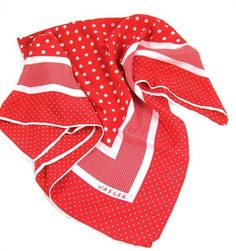 Vintage Jaeger red and white silk polka dot scarf