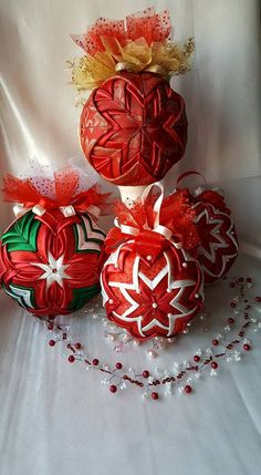 Red Christmas Tree Ornament/Quilted ball by AngelsHandmadeCrafts on Etsy