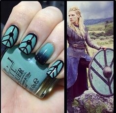 Lagertha's shield maiden nailart. Ok I may be getting a little Lagertha obsession. Can you blame me?
