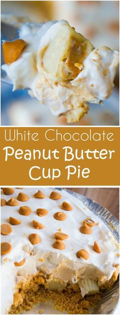 White Chocolate Peanut Butter Cup Pie is an easy no bake dessert recipe. A gluten free graham cracker crust is loaded with Reese's mini white chocolate peanut butter cups and white chocolate peanut butter pudding. Easy No Bake Desserts, Desserts To Make, Delicious Desserts, Yummy Food, Holiday Desserts, Healthy Desserts, Holiday Recipes, Chocolate Peanut Butter Cups, Peanut Butter Desserts