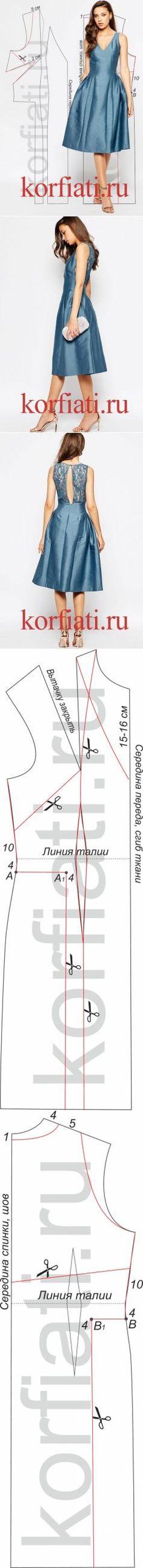 Выкройка платья с заниженной талией от А. Корфиати