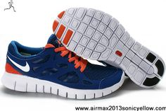 2013 Mens 443815-009 Blue White Orange Nike Free Run 2 Latest Now